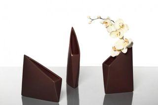 Design-Vase ORIGAMI, Keramik, mocca