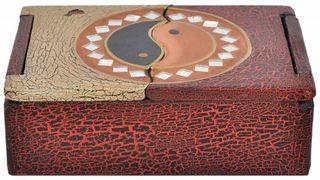 Schatulle aus leichten Albesia-Holz, handbemalt, Buddha oder Yin & Yang