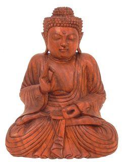 Buddha mit erhobener Hand, Holz-Skulptur Asien