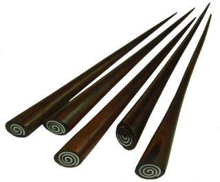 Haarnadel aus Holz (Sonor-Wood) mit Edelstahl-Intarsie, Haarschmuck