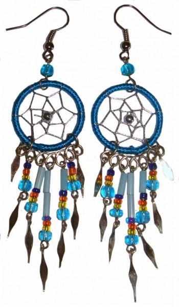 Ohrringe mit Dreamcatcher, mit Perlen und Metallsplitter Traumfänger | vendo