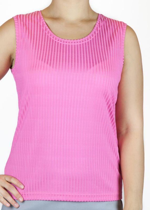 Top, breite Träger, zart glänzend, Streifen, Viskosemisch. - pink
