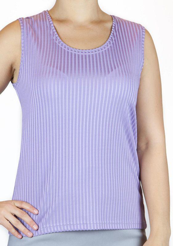 Top, breite Träger, zart glänzend, Streifen, Viskosemisch. - lila