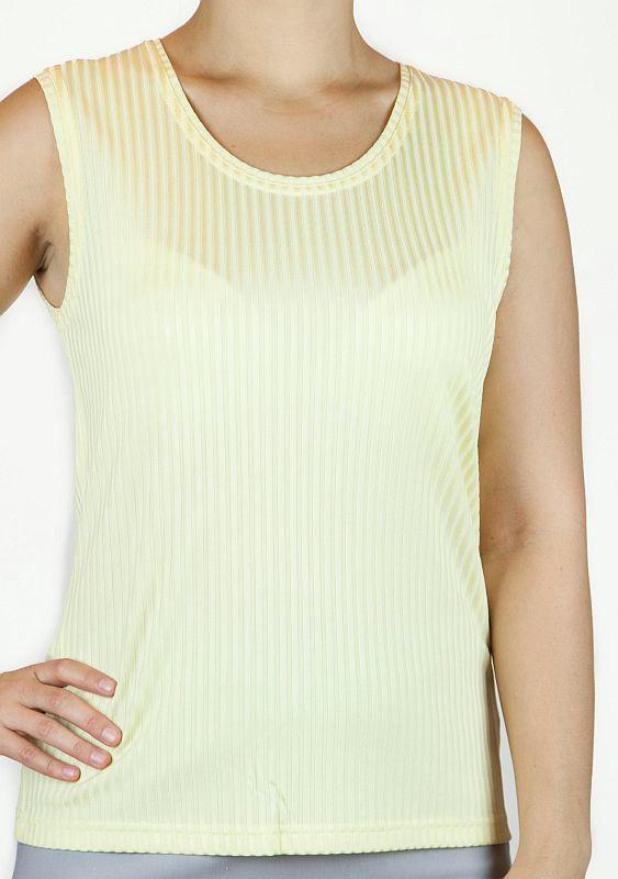 Top, breite Träger, zart glänzend, Streifen, Viskosemisch. - gelb