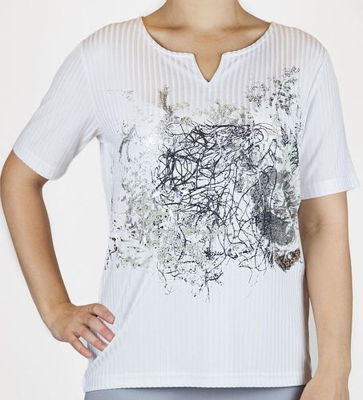 Shirt Kurzarm, weiß mit Glitzerdruck in silber / grau / schwarz