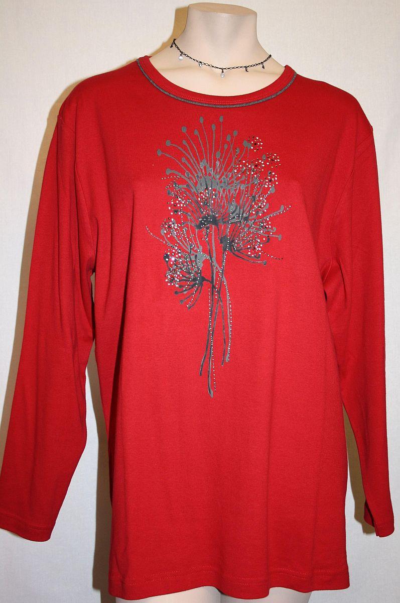 Shirt Langarm, Rundhals, rot / grau - Baumwolle