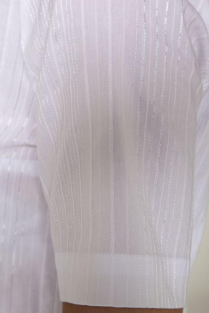 Bluse Kurzarm, Baumwoll-Stretch - weiß