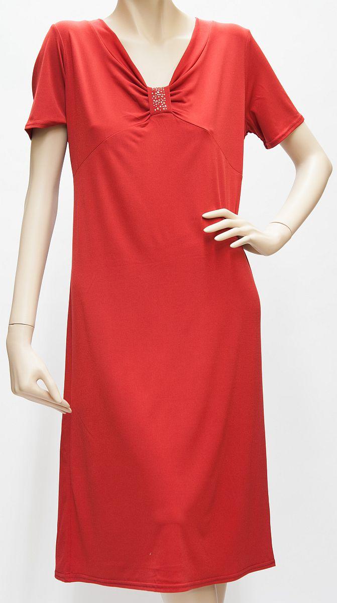 Kleid Kurzarm mit Strass, rot