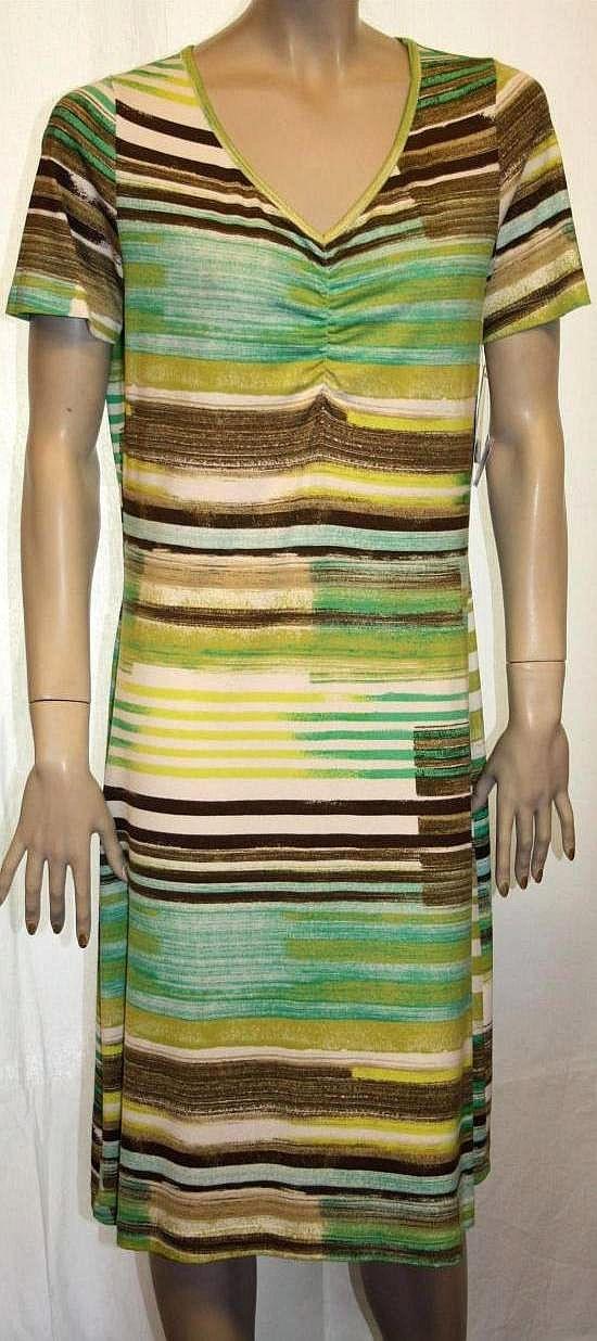 Kleid, Strandkleid, Badekleid - Streifen grün / braun