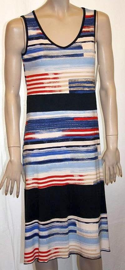 Kleid, Strandkleid, Badekleid - Träger Streifen blau / rot / weiß