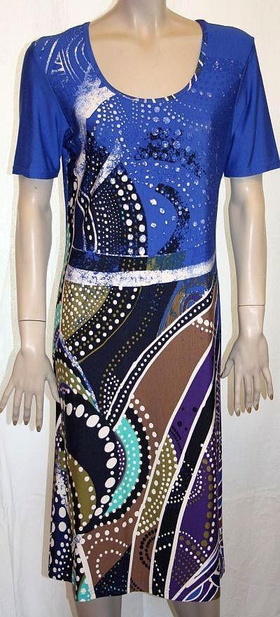 Jerseykleid Kurzarm, blau / türkis / braun