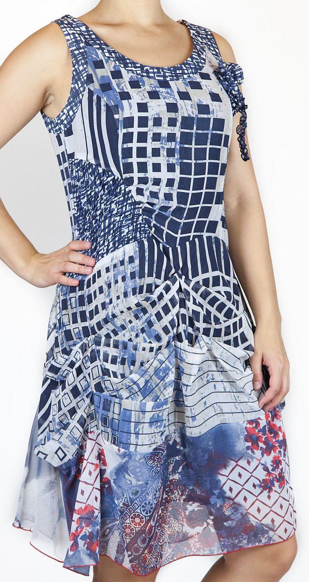 Kleid, Chiffonkleid - blau / creme / rot