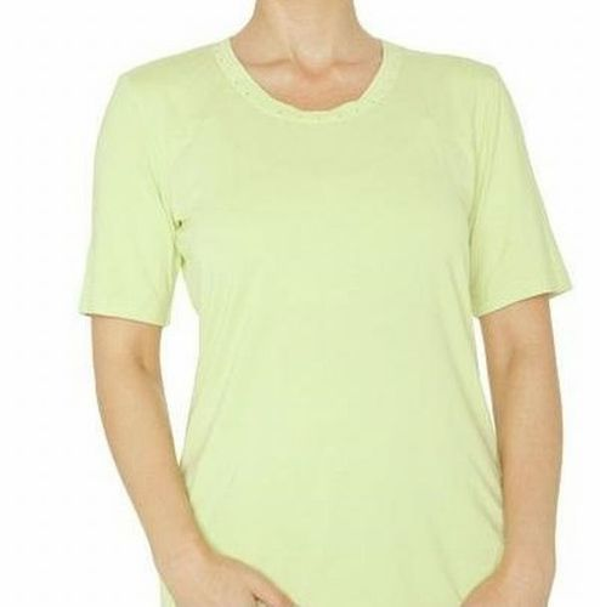 Shirt Kurzarm mit zartem Strass bei Ausschnitt, Viskose -  pistazie