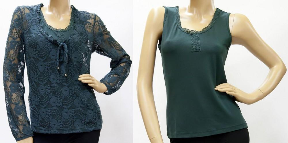 Shirt Spitze und Top Viskose, dunkelgrün