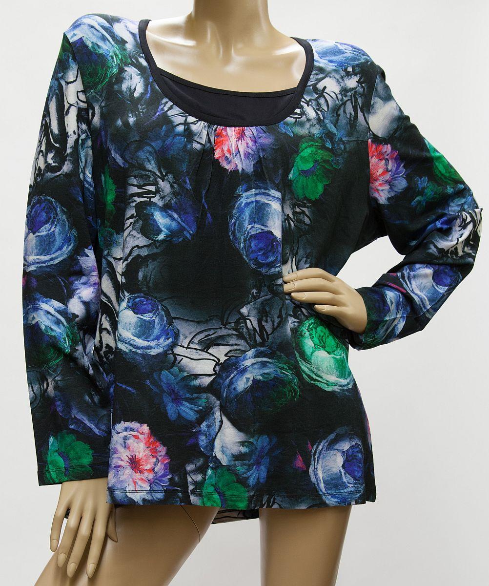 Shirt Blütenmuster, Viskose, Langarm - schwarz, blau, grün, rosa