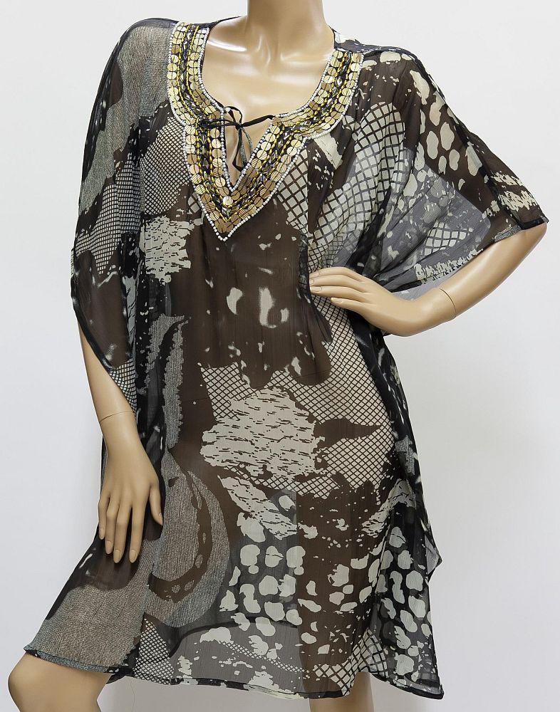 Tunika Chiffon, grau Muster