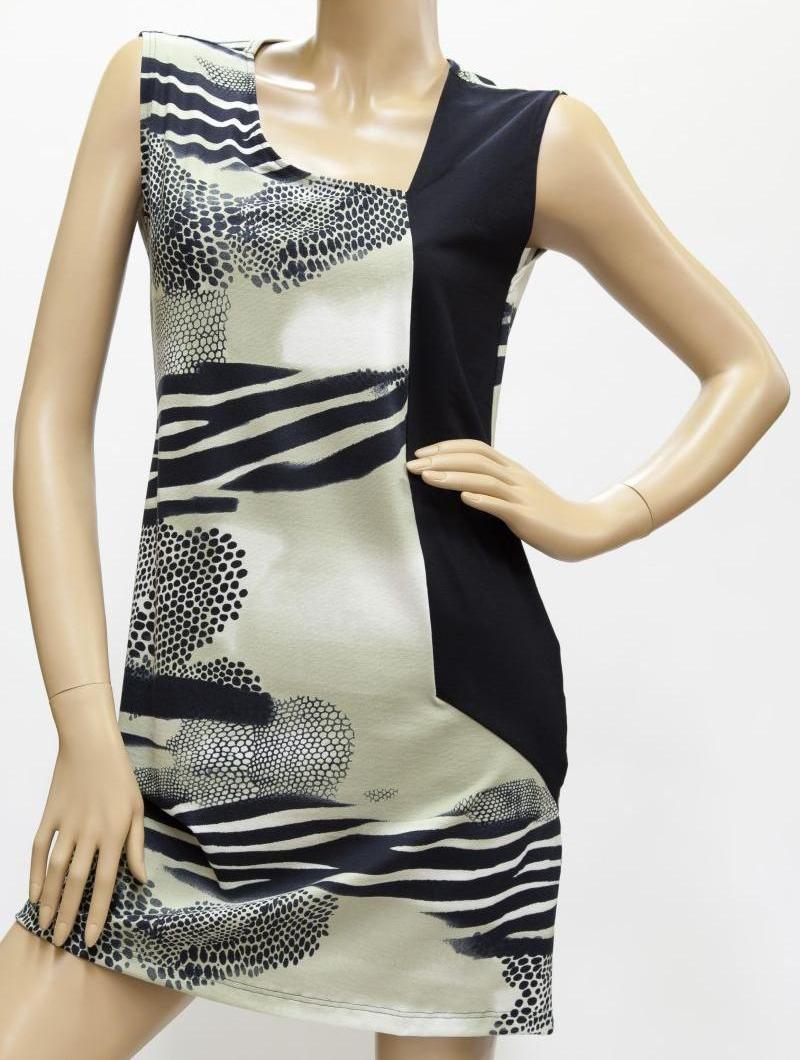 Kleid, Strandkleid, Badekleid - taupe / schwarz