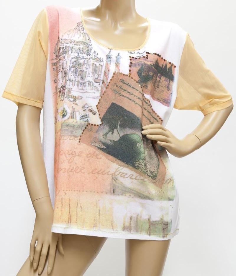 Shirt mit Pailletten, weiß / orange