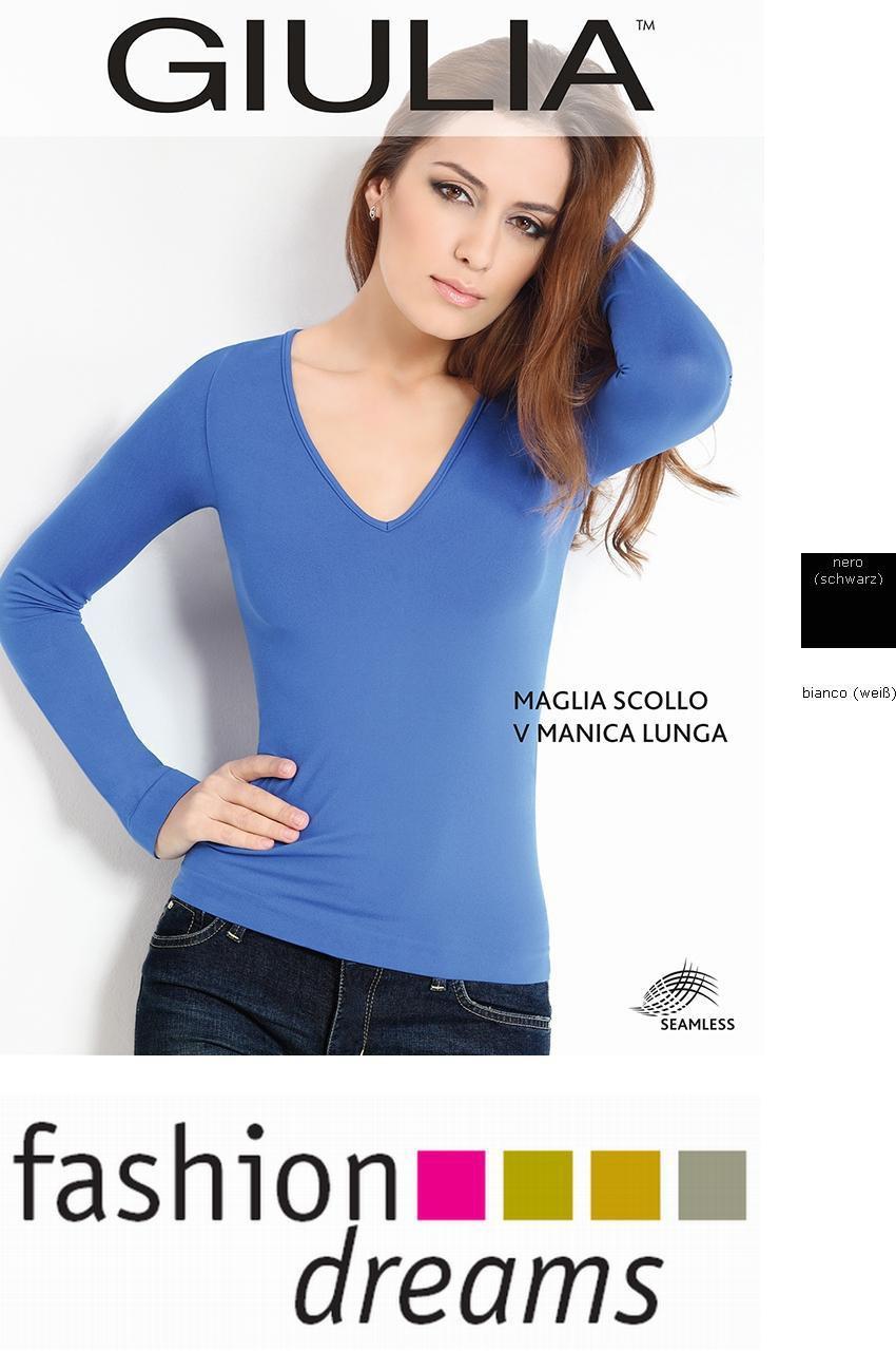 GIULIA seamless Shirt Langarm V (Maglia Scollo V Manica Lunga), Microfaser