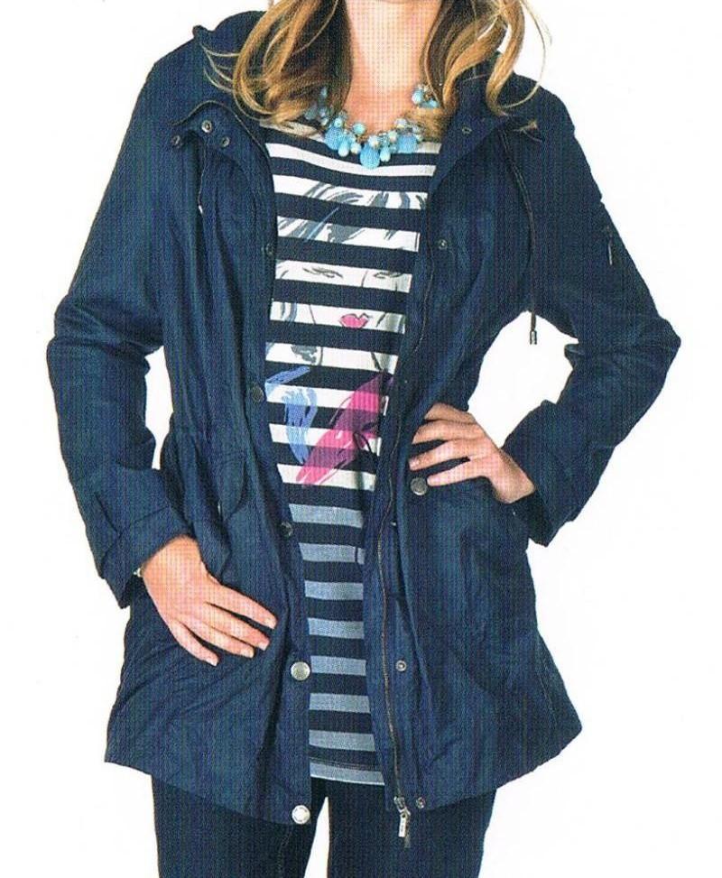 Parka, Kurzmantel, Jacke - Baumwollmischung, wasserabweisend - schwarz + dunkelblau