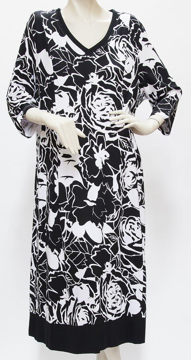 Kleid Viskose, schwarz / weiß - Blütenmuster