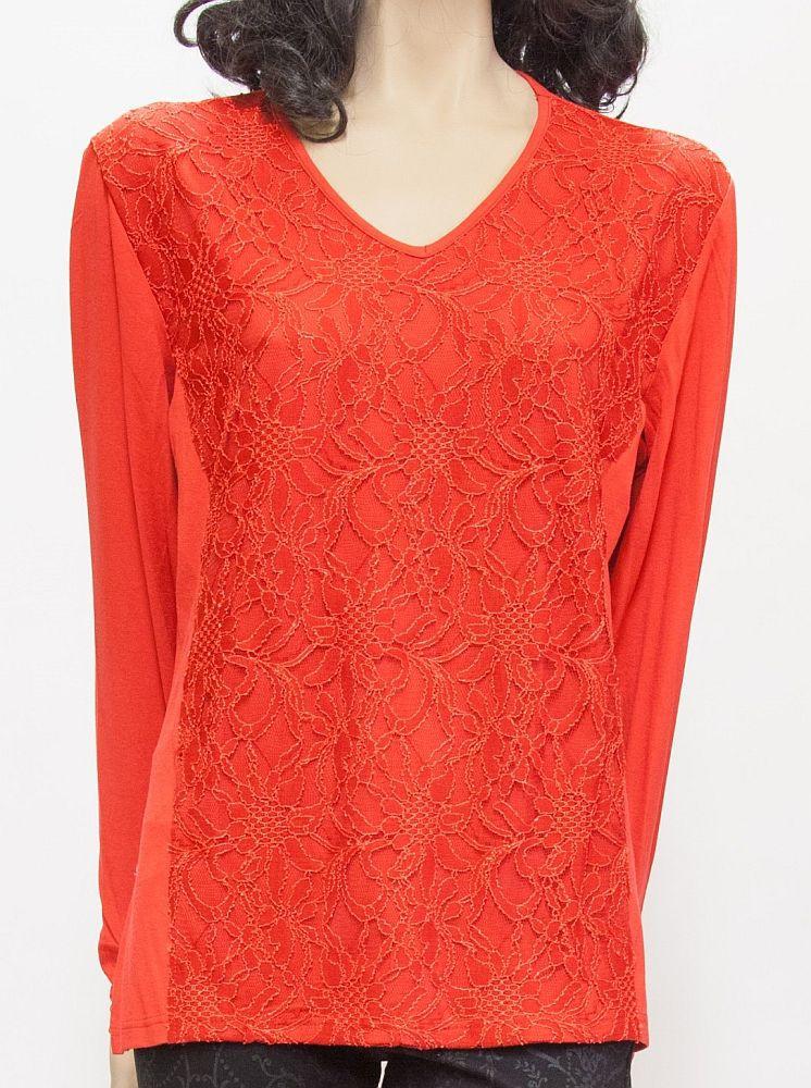 Shirt mit Spitze, Viskose - rot