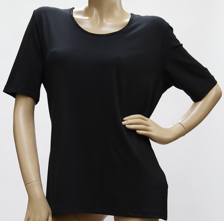 Shirt Kurzarm, Rundhals, Viskose mit zartem Strass, schwarz