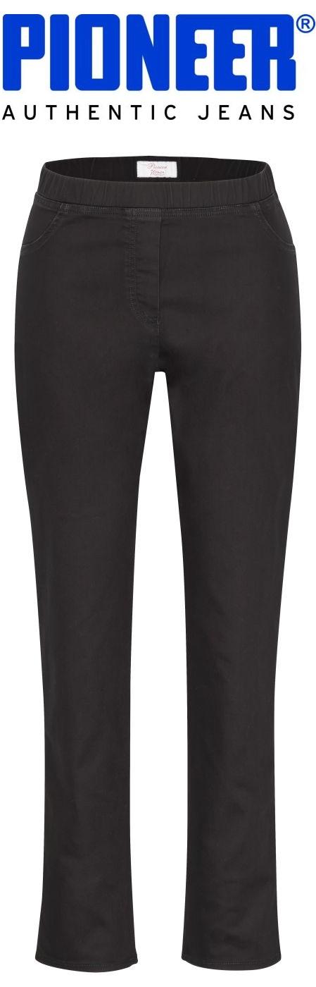 Pioneer Ina 3198 - Powerstretch Jeans, Schlupfjeans, schmales Bein, Gummibund, schwarz, L 30 + L 32 - 6131-00