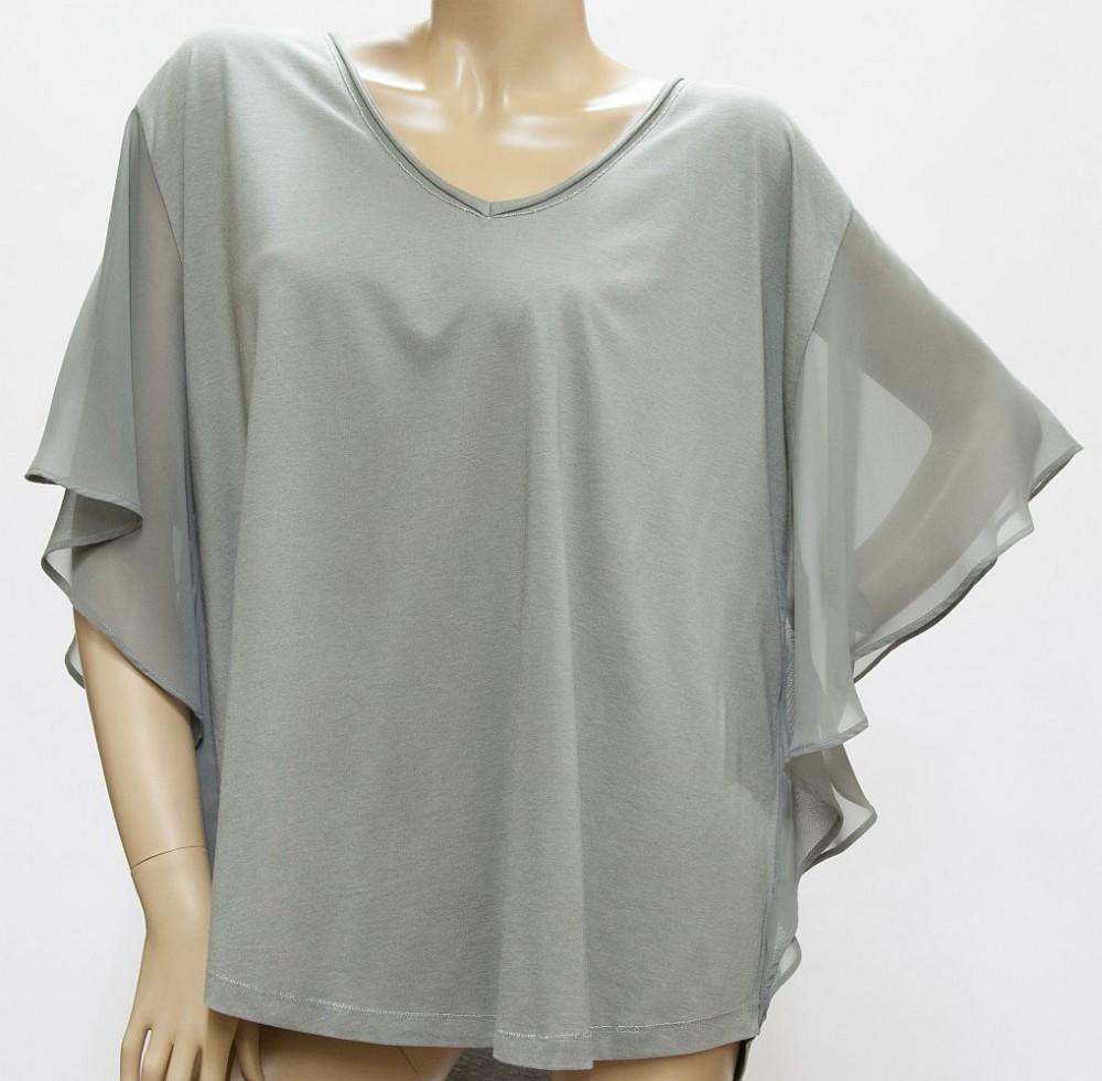 Shirt Fledermausärmel, Baumwolle / Modal, Netzeinsatz - khaki