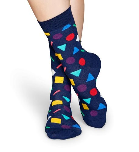 Happy Socks - Socken - Play Geometric Sock, Kreise, Dreiecke, Quadrate - dunkelblau / bunt - PLA01-6000
