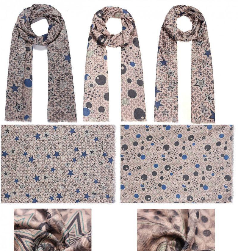 Schal - 2 verschiedene Seiten, 2 Schals - 68 x 190 cm - Sterne + Kreise - grau / blau