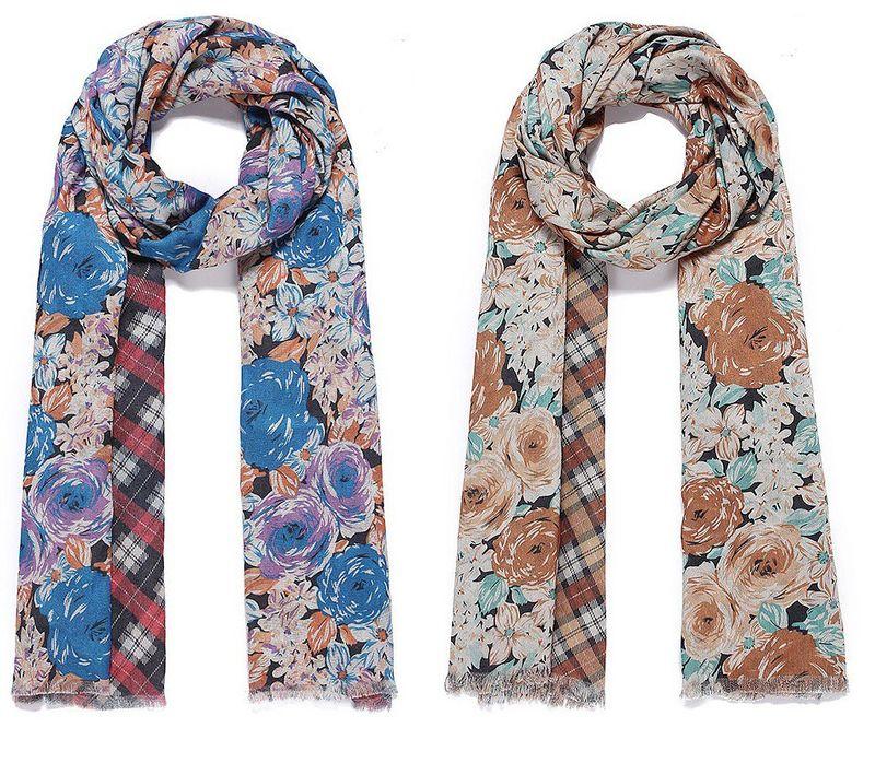 Schal - 2 verschiedene Seiten, 2 Schals - 68 x 190 cm - Blumen + Karo - blau / orange + creme / orange