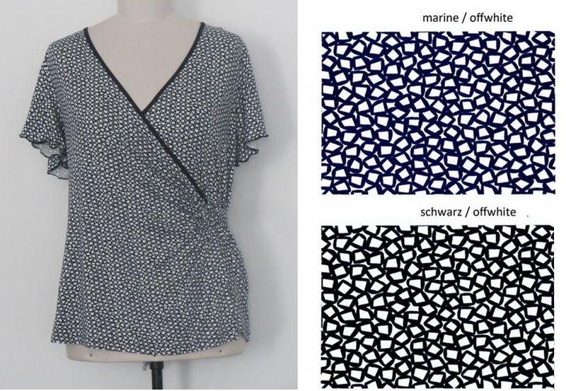 Shirt, Wickelshirt, Kurzarm, V-Ausschnitt, Viskose - schwarz / weiß + blau / weiß