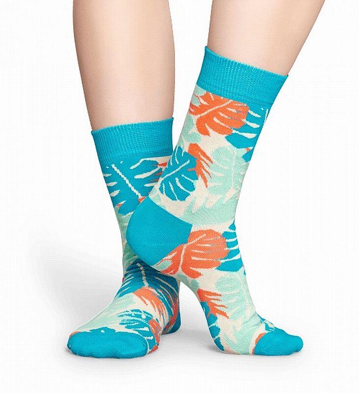 Happy Socks - Socken - Jungle Sock, Blätter, Dschungel - blau / weiß / orange / türkis - JUN01-6001