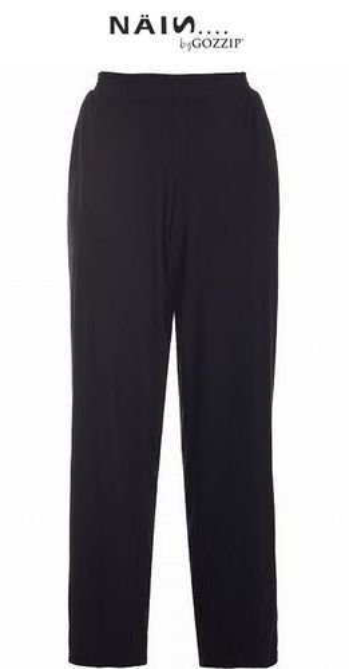 Bequeme Hose mit Gummizug, weich fallend, breiteres Bein - Viskose, schwarz, KURZ 38 - 56