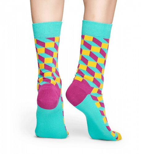 Happy Socks - Socken - Filled Optic Sock, Rechtecke - türkis / pink / gelb - FIO01-7001