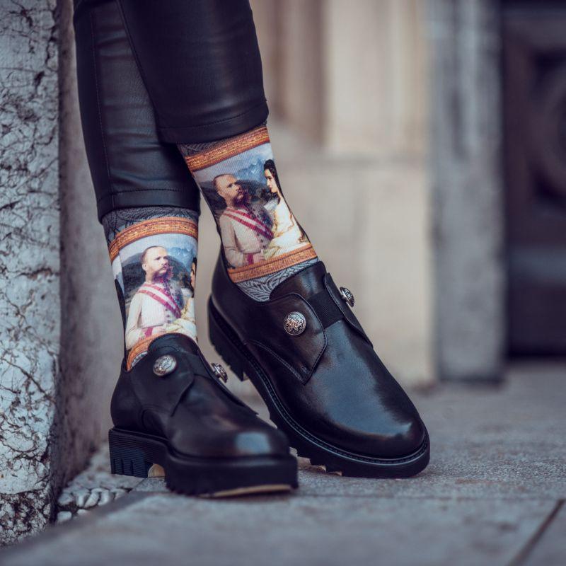 wigglesteps Socken - Sissi & Franz Joseph, Kaiser, Sisi, Kaiserin Elisabeth - grau / bunt, One Size 36 - 40