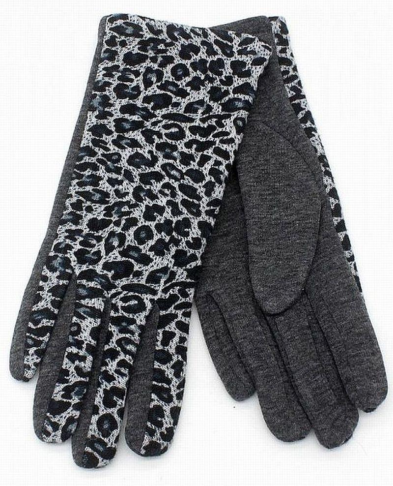 Handschuhe Damen Fleece, Stoffhandschuhe mit Leo, grau/schwarz - 6,5 / 7 / 7,5