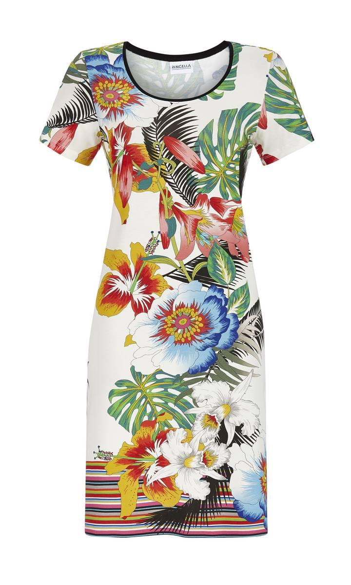 Kleid, Strandkleid, Badekleid Kurzarm, Viskose   - weiß / bunt