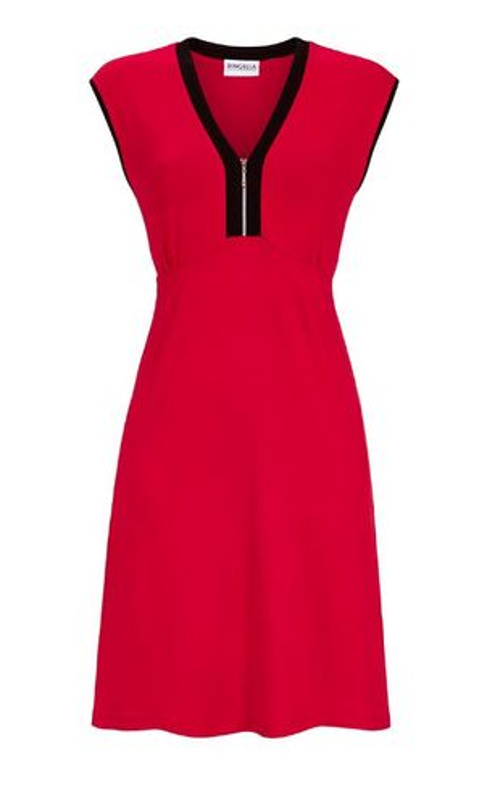 Kleid, Strandkleid, Badekleid ohne Arm, Viskose - rot / schwarz