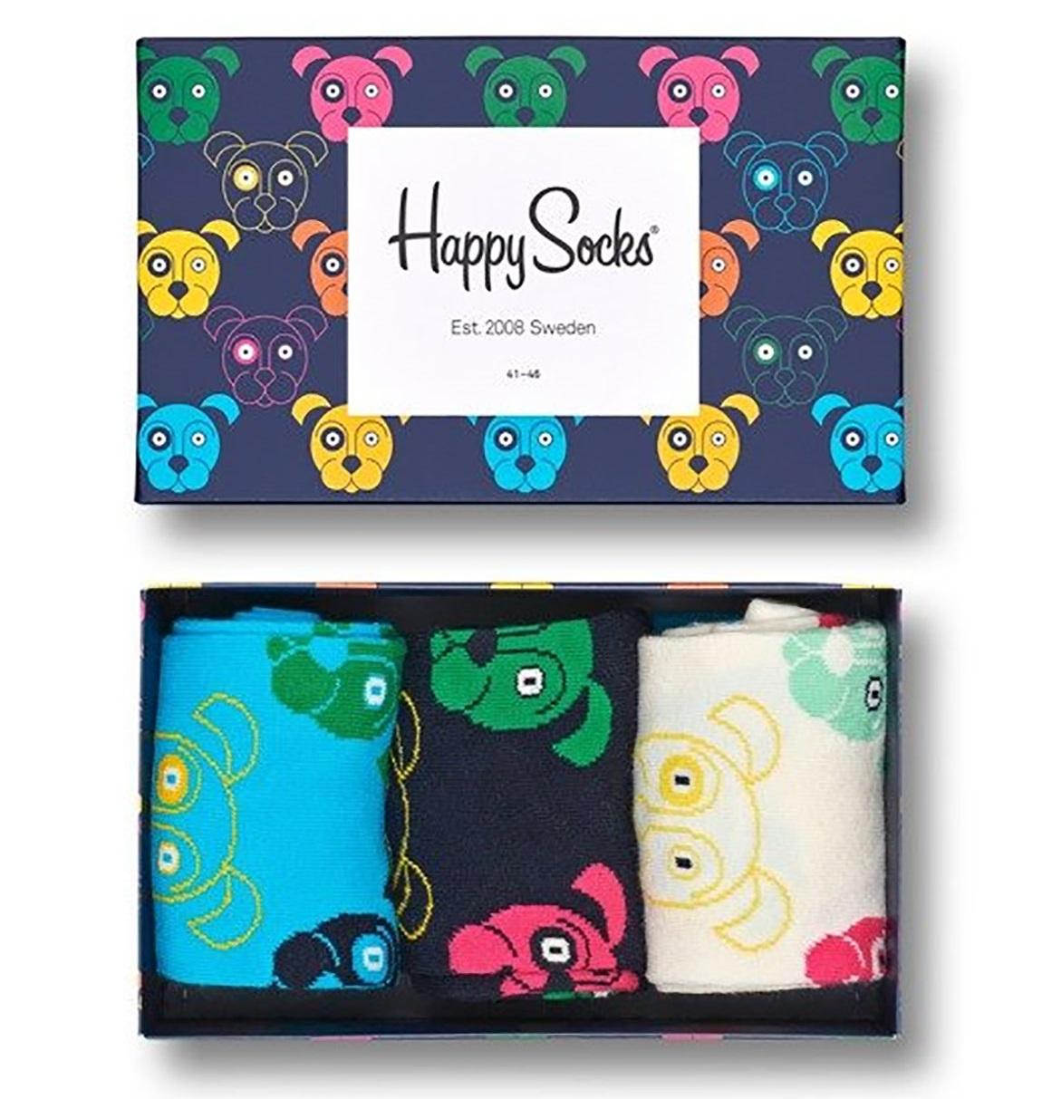 Happy Socks - 3er Pack Gift Box, Geschenkbox - Dog, Hunde - hellblau / schwarz / weiß - SXDOG08-0100