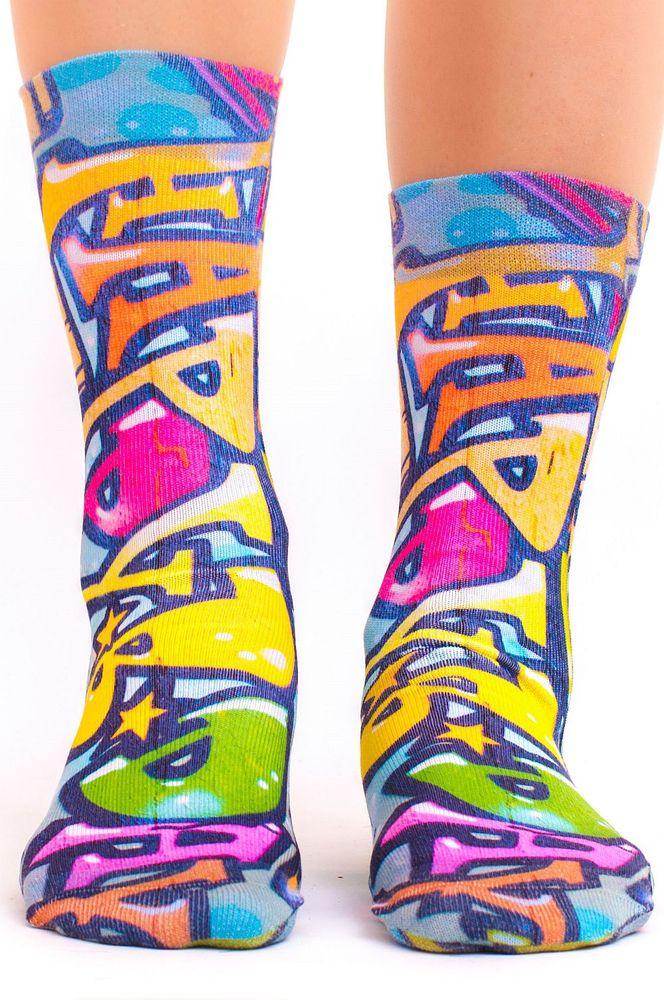 wigglesteps Socken, Dry Touch®, Graffiti, Streetart - neon blau / pink / gelb 36 - 40