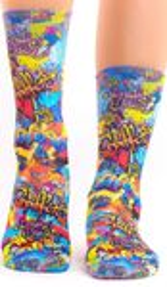 wigglesteps Socken, Dry Touch®, Graffiti, Streetart - blau / rot / bunt 36 - 40