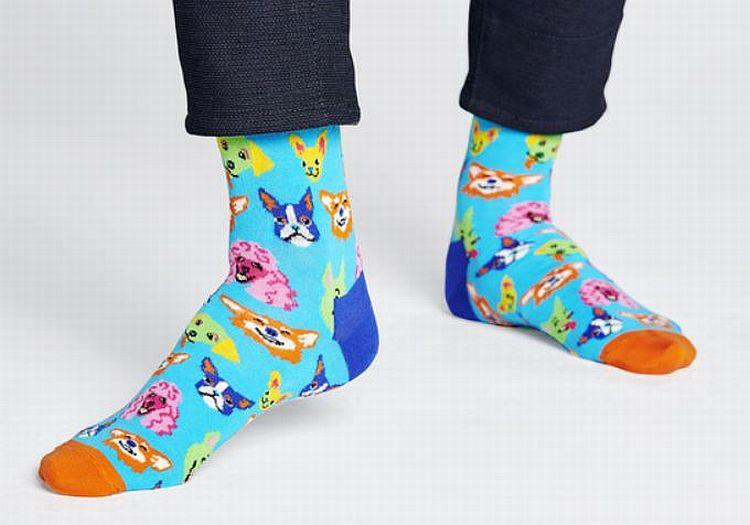 Happy Socks - Socken - funny dog sock, lustige Hunde - hellblau / bunt- FDO01-6700