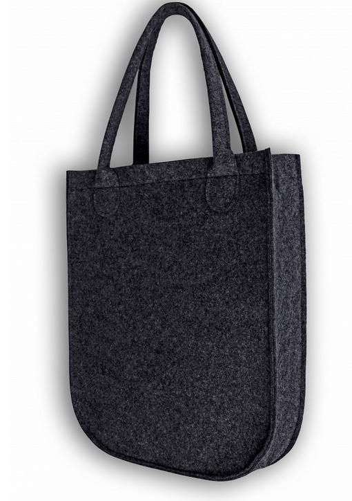 Handtasche, Umhängetasche, Schultertasche, Filz WASCHBAR - grau / bunt - Katze gemustert
