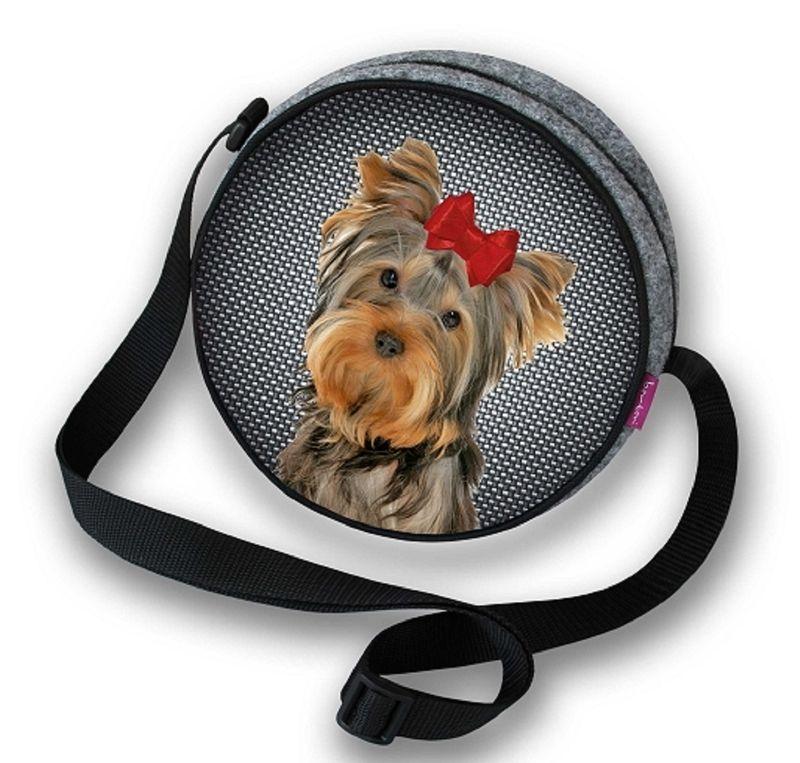 Handtasche, Schultertasche rund, Filz WASCHBAR - grau / bunt - Hund, Yorkshire Terrier