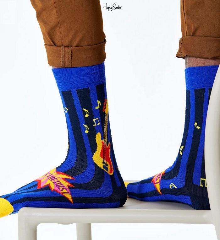 Happy Socks - Socken - Queen - Another One Bites The Dust Sock, Song, Musik - violett / schwarz - QUE01-6500