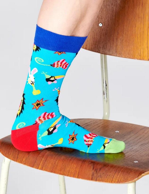 Happy Socks - Socken - Party Animal Sock, Tiere, Party - türkisblau / bunt - PAA01-6700