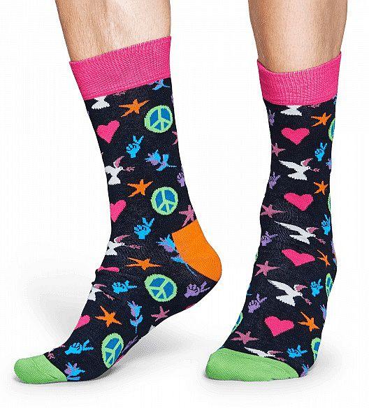 Happy Socks - Socken - Peace And Love Sock, Tauben, Herzen, Sterne, Rosen - schwarz / bunt - PAL01-9000