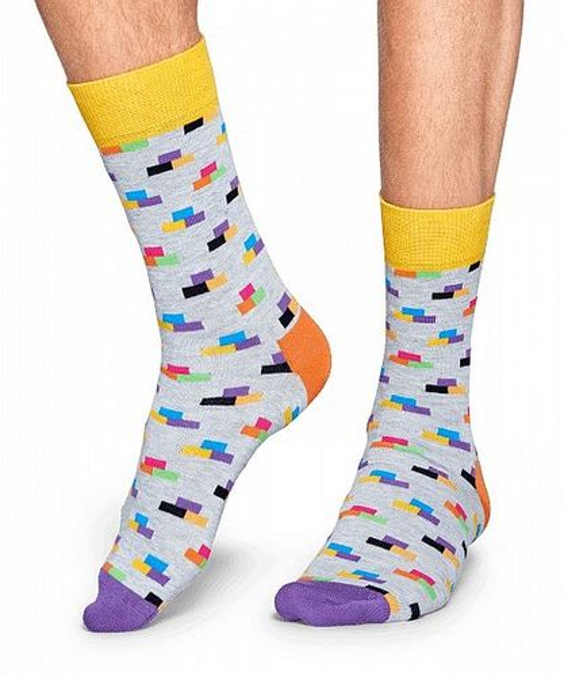 Happy Socks - Socken - Brick Sock, Ziegelsteine, Bausteine - hellgrau / bunt - BRI01-9000
